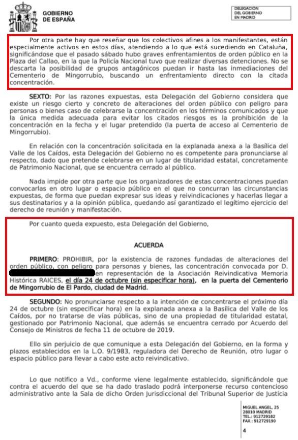 Extracto del acuerdo de la Delegación del Gobierno.