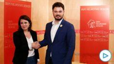 La portavoz del PSOE en el Congreso, Adriana Lastra, y su homólogo de ERC, Gabriel Rufián.