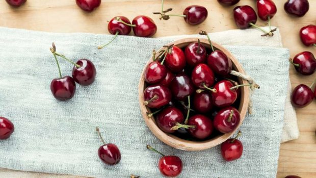 Charlota de mousse de cerezas