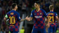 Messi y Luis Suárez celebran un gol ante el Inter en Champions. (AFP)