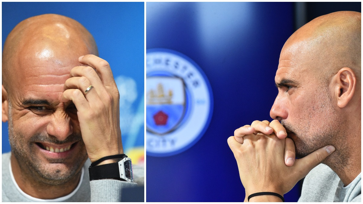 Guardiola, con el reloj en sala de prensa (AFP).
