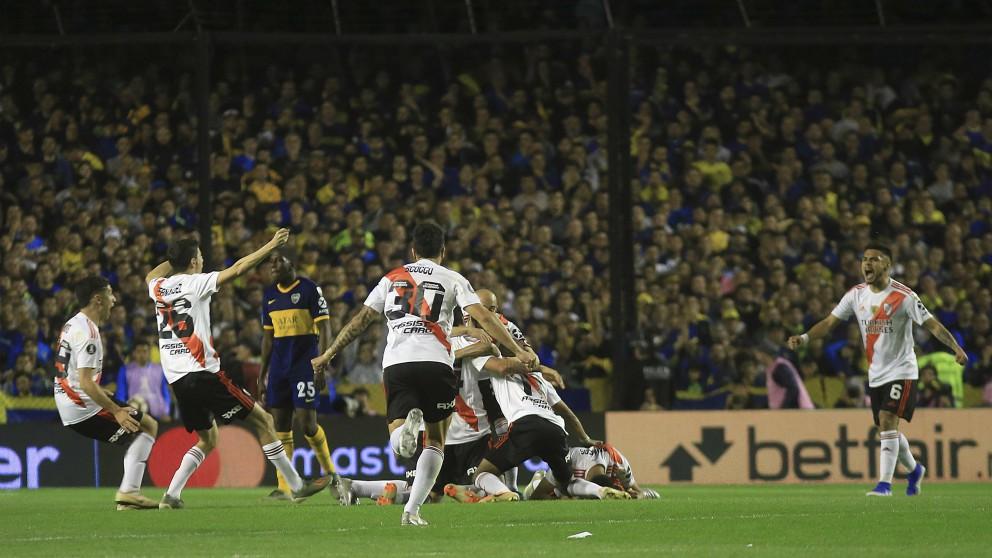 Los jugadores de River celebran el pase a la final de la Libertadores. (Getty)