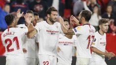 El Sevilla celebra un gol en la Europa League. (EFE)