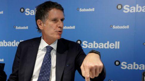 Jaime Guardiola, consejero delegado de Banco Sabadell, este viernes en rueda de prensa en Madrid