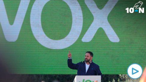 Santiago Abascal durante su intervención en el acto de la plaza de Colón.