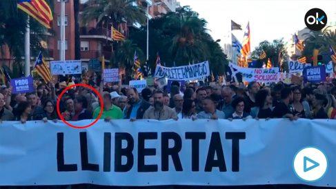 El asesino Carles Sastre, en la manifestación independentista de este sábado en Barcelona.