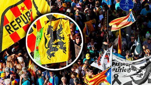 La bandera del partido de extrema derecha flamenca Vlaams Belang, junto a la cabecera de la manifestación (Foto: EFE).