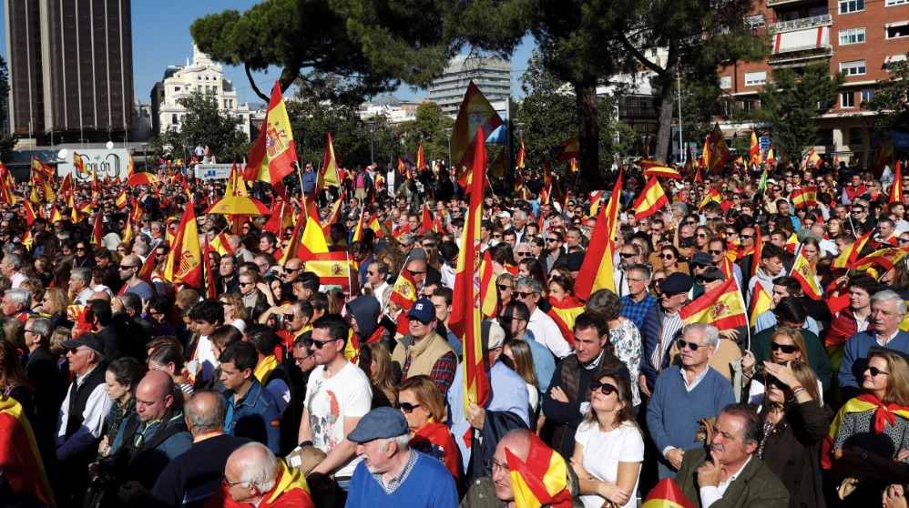 La Plaza de Colón este sábado con 20.000 simpatizantes de Vox. (Foto. EFE)
