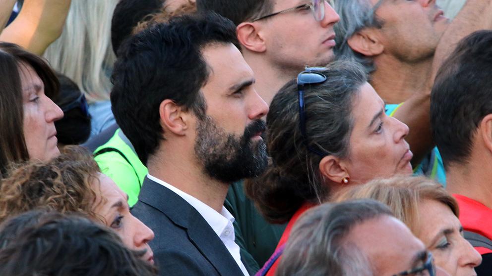 Roger Torrent, en la manifestación independentista del 26 de octubre. (Foto: Enrique Falcón)