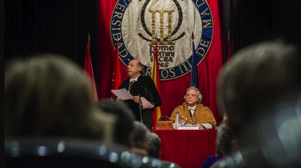 El rector de la Universidad Carlos III, Juan Romo, en su toma de posesión.