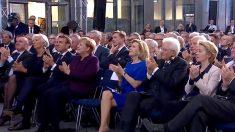 Imagen de la despedida de Draghi este lunes en Franckfort.