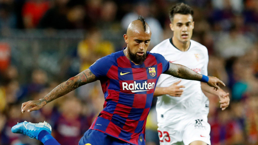Arturo Vidal en un partido ante el Sevilla (@Kingarturo23)