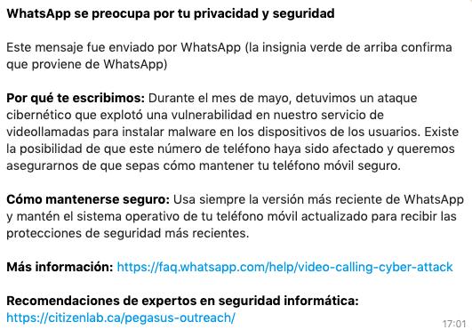Mensaje de Whatsapp recibido por los afectados.