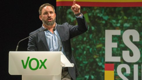 El presidente de Vox, Santiago Abascal, durante un acto de su formación. (Foto: Efe)