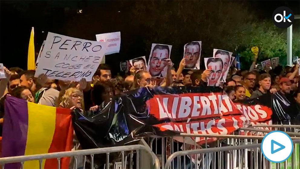 Los CDR protestando contra Sánchez.