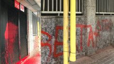 Pintadas en a sede del PSC en Badalona. Foto: @AlcaldePastor