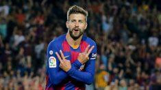 Gerard Piqué celebra un gol con el Barcelona (AFP)