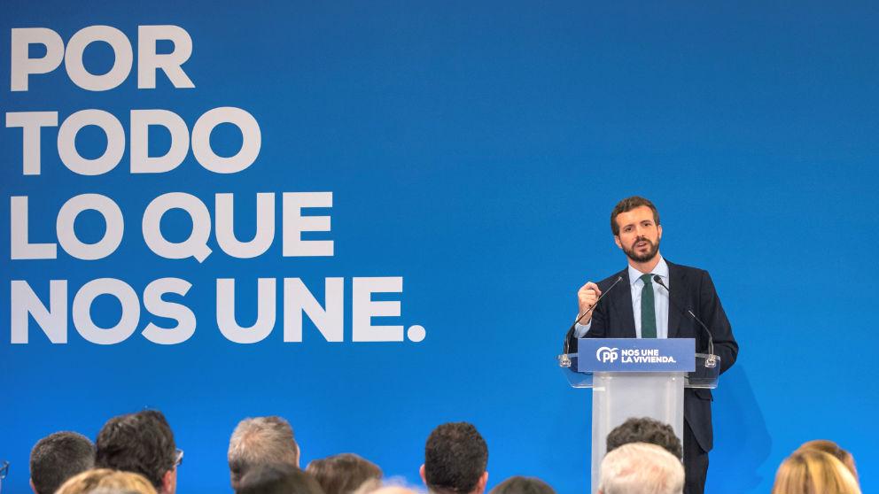 El candidato por el Partido Popular a las elecciones generales, Pablo Casado, en un acto de su partido. (Foto: Efe)