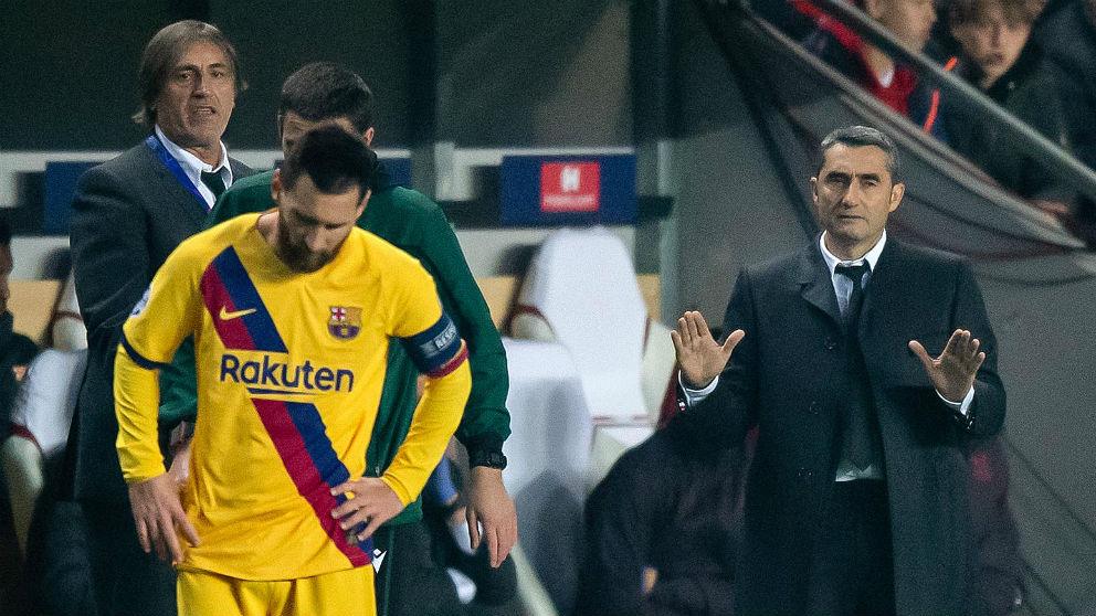 Valverde y Messi, en un partido del Barcelona. (Getty)