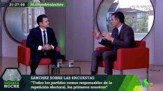 Pedro Sánchez, entrevistado por Iñaki López este sábado en La Sexta Noche.