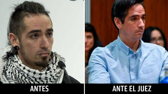 El asesino Rodrigo Lanza cuando se produjeron los hechos, a la izquierda, y este lunes ante el juez en la Audiencia Nacional de Zaragoza, derecha. Foto: Twitter