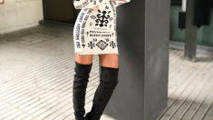 La combinación de vestido y botas es una apuesta segura