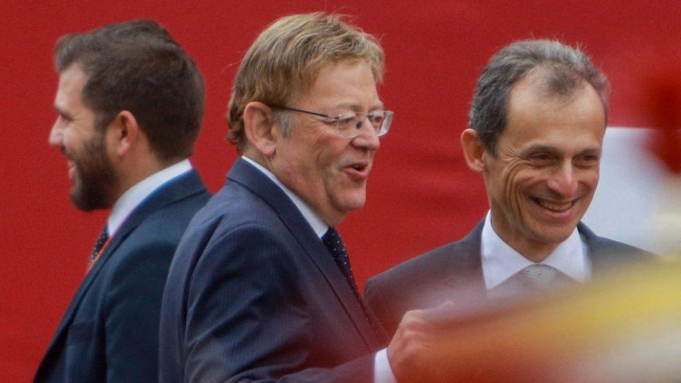 Ximo Puig junto al ministro de Ciencias en funciones, Pedro Duque, en un acto de campaña @Getty