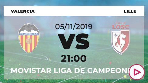 Valencia – Lille: hora y dónde ver en directo en TV el partido de Champions League