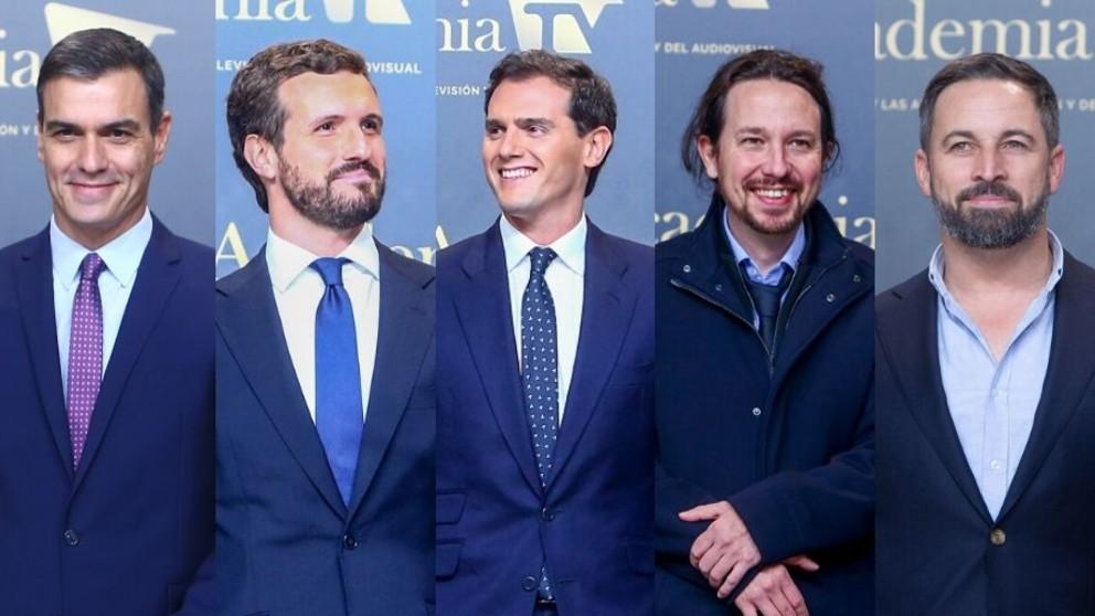 Sánchez, Abascal, Casado, Iglesias y Rivera llegan al debate. Foto: EP