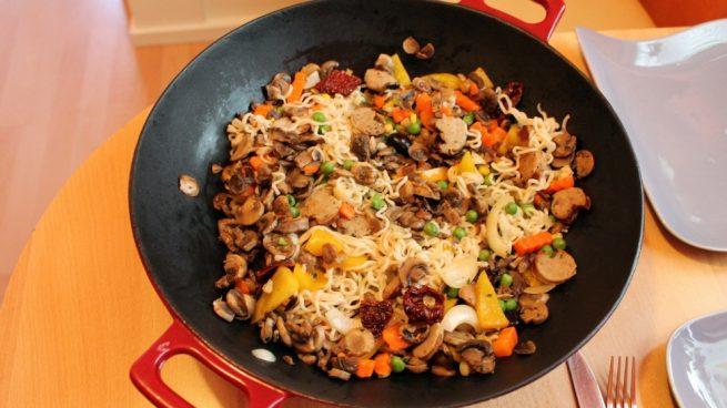 Receta de Wok de verdura y longaniza