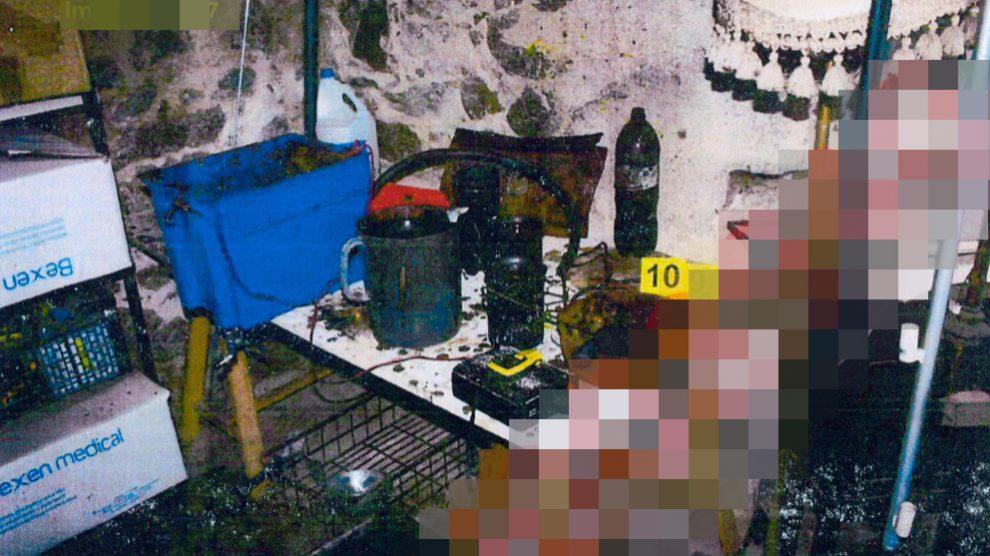 Imagen tomada por la Guardia Civil del laboratorio de explosivos que montaron los CDR.
