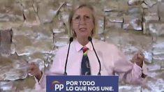 Rosa Díez participando en un acto electoral del PP en Barcelona, donde ha mostrado su apoyo a Pablo Casado. Foto: Twitter