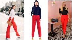 El rojo es un color muy atrevido para un pantalón