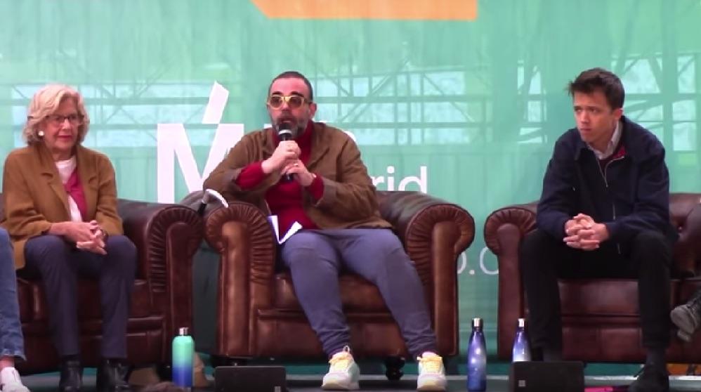 Manuela Carmena, el cómico Bob Pop e Íñigo Errejón. (Foto. Más Madrid)