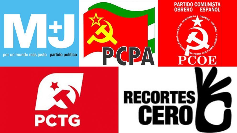 Los logos de los partidos comunistas que se presentan en Córdoba.