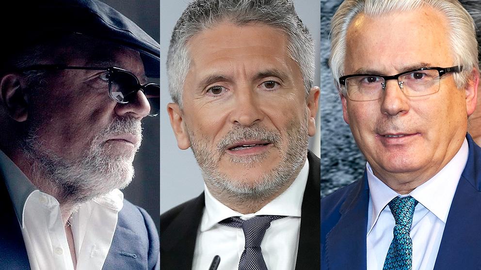 El comisario José Villarejo, el ministro Fernando Grande-Marlaska y el juez inhabilitado Baltasar Garzón.