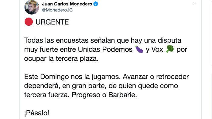 El mensaje publicado por Monedero en Twitter esta noche a las 22:28 horas.