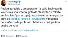 El tuit de Cristina Seguí denunciando la agresión.