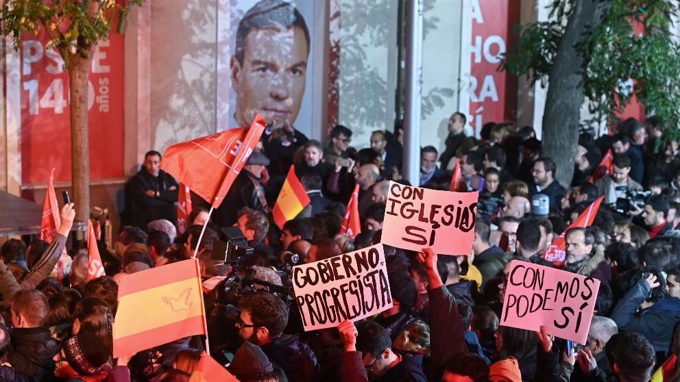 Simpatizantes socialistas tras las elecciones del 10N.