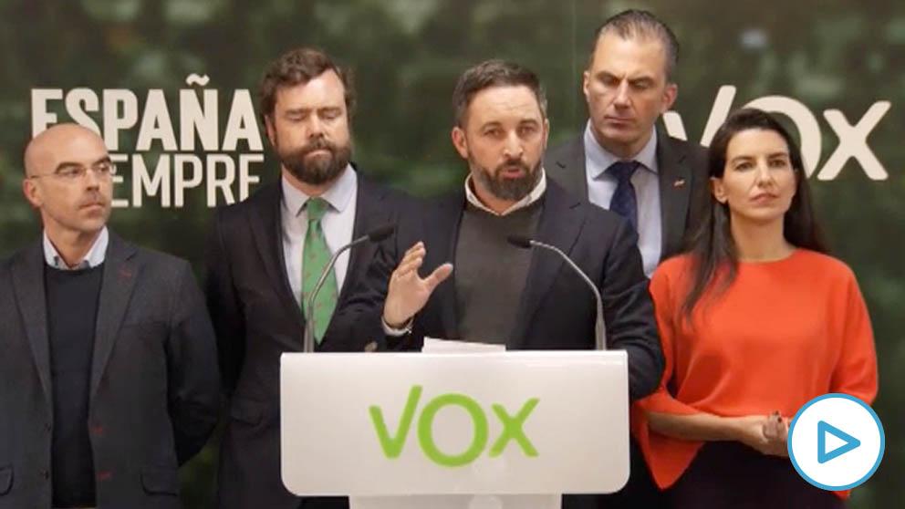 Santiago Abascal junto a otros destacados dirigentes de Vox