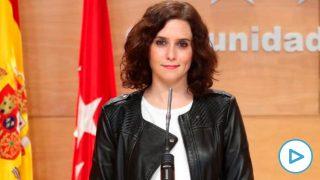 apuestas Isabel Díaz Ayuso, en la sala de prensa de la Real Casa de Correos. (Foto. Comunidad)