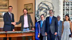 Pedro Sánchez y Pablo Iglesias y los Reyes, en Cuba.