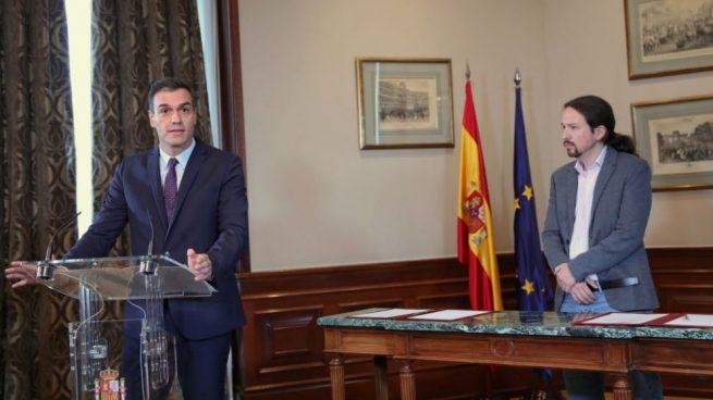 Pedro Sánchez y Pablo Iglesias en el momento del anuncio del preacuerdo de Gobierno @Getty