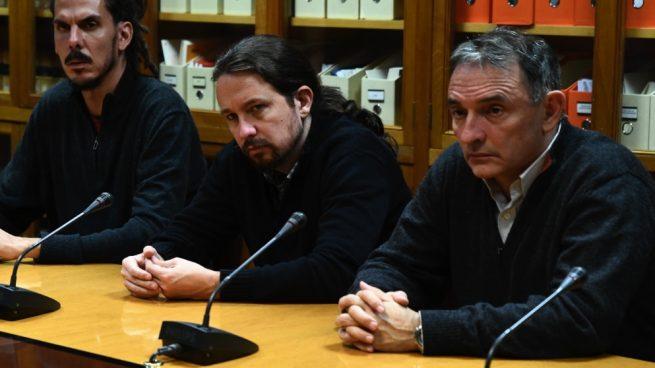 Pablo Iglesias junto a Enrique Santiago, líder del PCE. (Foto. Podemos)