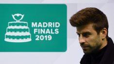 Piqué, en la presentación de la Copa Davis. (AFP)
