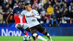 Rodrigo Moreno con el Valencia ante el Lille (AFP)