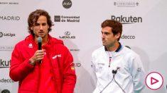Feliciano López, junto a Guido Pella en la presentación de la Copa Davis. (EFE)