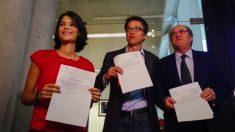 Imagen de archivo de los portavoces de Podemos, Más País y PSOE en la Asamblea de Madrid.