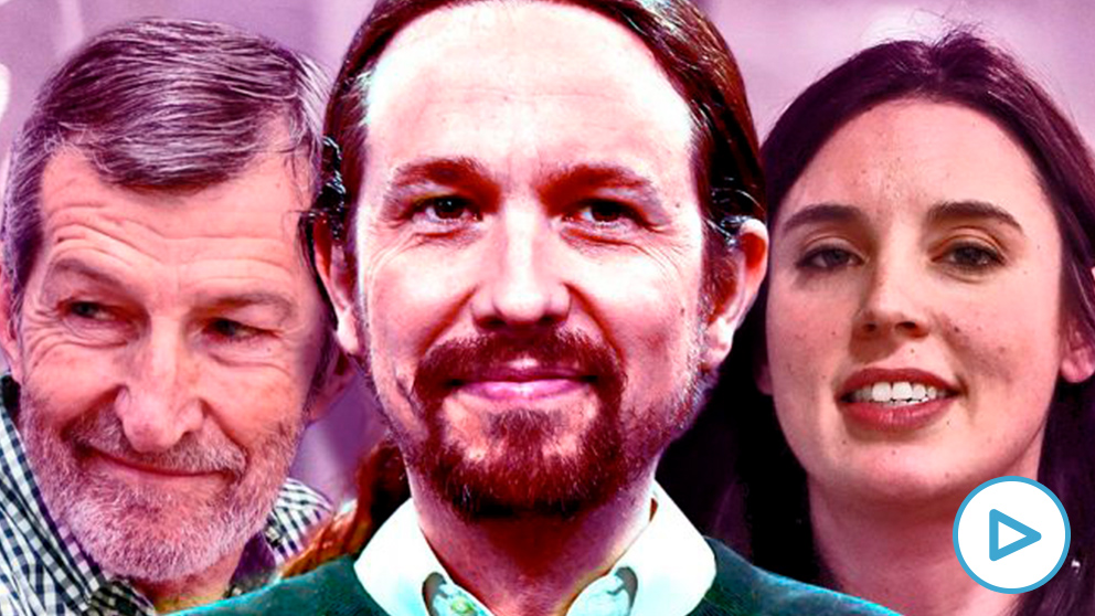 Pablo Iglesias, flanqueado por Julio Rodríguez e Irene Montero.