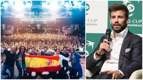 Taburete sacó una bandera de España en su último concierto en Barcelona.
